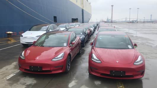 More than 1,800 Tesla electric cars, including over 1,600 Model 3 from the United States, arrive at Pudong Waigaoqiao Port on February 22, 2019 in Shanghai, China. Freight ship 'Morning Cindy' carrying more than 1,800 Tesla electric cars, including over 1,600 Model 3 from the United States, arrived in Shanghai on Friday.