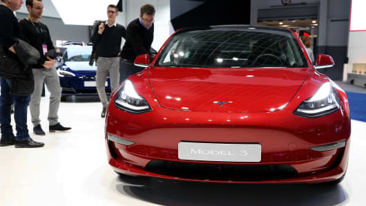The Tesla 3 model is displayed for press members on the eve of the 97th Motor Show in Brussels, Brussels, January 19, 2019.