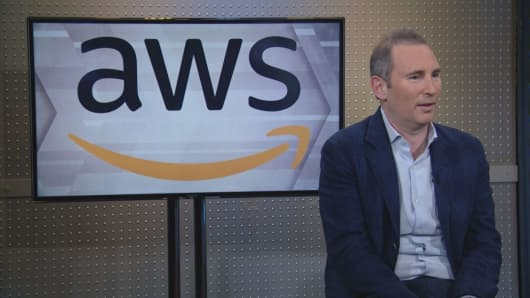 """Amazon Web Services CEO Andy Jassy speaks with Jim Cramer on CNBC's """"Mad Money"""" on Feb. 28, 2019."""