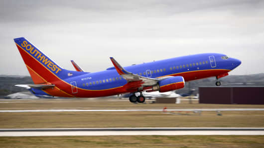 A Southwest Airlines Boeing 737 passenger plane takes off from the San Antonio International Airport in Texas.