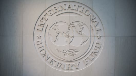 IMF Logo is seen at the International Montary Fund (IMF) headquarters in Washington, United States on April 24, 2017.