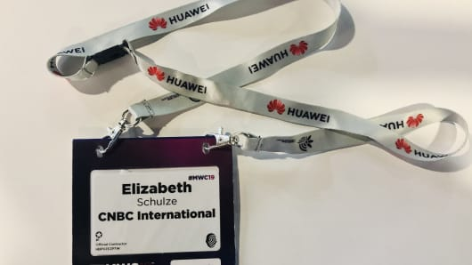 Huawei's logo was on the lanyards of badges at MWC Barcelona 2019.