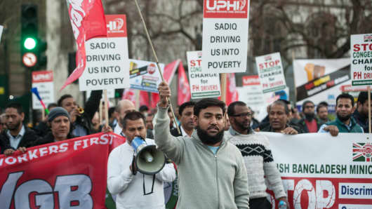 Taxi drivers organised by the United Private Hire Drivers branch of the IWGB trade union block traffic for several hours in protest of Sadiq Khan's new congestion charge proposals.