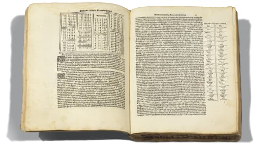 "Luca Pacioli's 1494 book ""Summa de Arithmetica"" introduced bookkeeping methods used today and is considered to have prefigured many aspects of the modern business world. It is estimated by Christie's to fetch between $1 million and $1.5 million at auction."