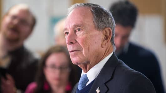 Former New York City Mayor Michael Bloomberg speaks with the media after touring the W.H. Bagshaw Company during an exploratory trip on January 29, 2019 in Nashua, New Hampshire.