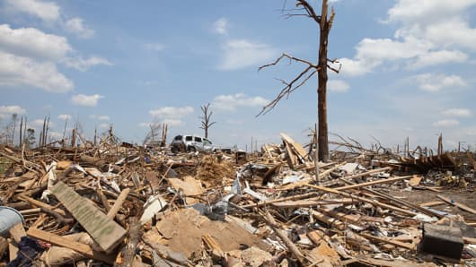 Pleasant Grove, a suburb of Birmingham Alabama remains in a state of ruin over two weeks after it was hit by an F-4 ( possibly an F-5) tornado, one of an estimated 300 that struck Alabama and the neighboring states on April 27th , 2011.