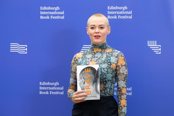 American activist, former actress, author, model and singer Rose McGowan attends a photocall during the annual Edinburgh International Book Festival at Charlotte Square Gardens on August 13, 2018 in Edinburgh, Scotland.