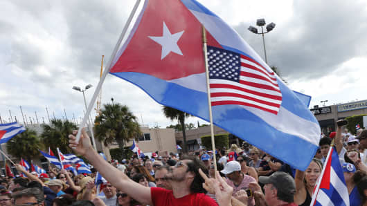 Cuban Americans in Miami's Little Havana celebrate the death of longtime Cuban leader Fidel Castro on November 26, 2016.
