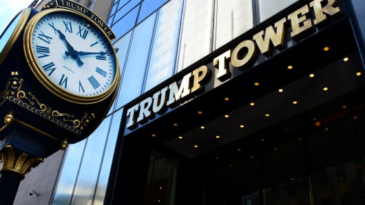 The public entrance to Trump Tower on Fifth Avenue in New York.