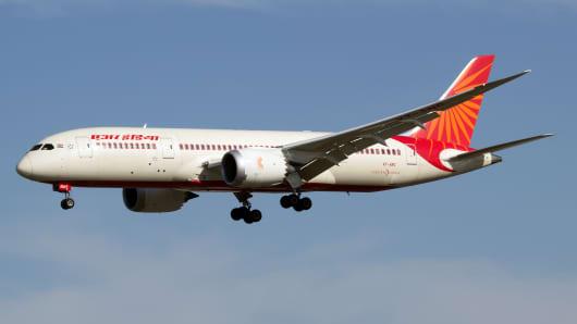 An Air India Boeing 787-8 Dreamliner seen landing at London Heathrow airport.