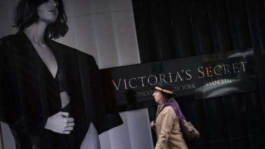 A woman walks past a Victoria's Secret store in Midtown Manhattan, March 1, 2019 in New York City.