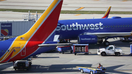 Southwest airline planes sit on the tarmac at Fort Lauderdale–Hollywood International Airport on February 20, 2019 in Fort Lauderdale, Florida.