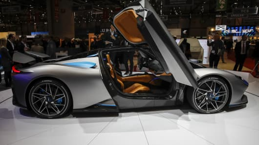 A new Pininfarina SpA Battista luxury hypercar sits on display on the opening day of the 89th Geneva International Motor Show in Geneva, Switzerland, on Tuesday, March 5, 2019.