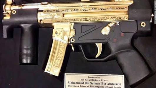Pakistani senators gifted the gold-plated gun, a German-made Heckler & Koch MP5, to Saudi Crown Prince Mohammed bin Salman during his visit to Pakistan.