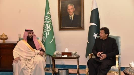 Prime Minister of Pakistan Imran Khan (R) meets Crown Prince of Saudi Arabia Mohammad bin Salman (L) in Islamabad, Pakistan on February 17, 2019.