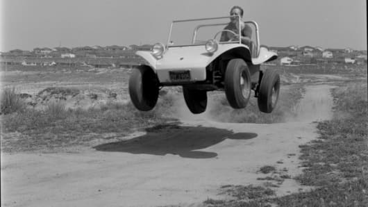 Bruce Meyers in his Manx Dune Buggy.