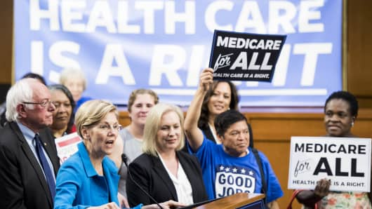 Sen. Elizabeth Warren, D-Mass., speaks during Sen. Bernie Sanders' event to introduce the Medicare for All Act of 2017 on Wednesday, Sept. 13, 2017.