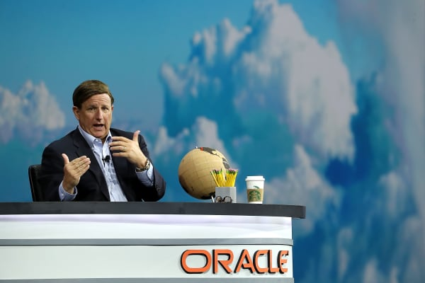 Oracle co-CEO Mark Hurd delivers a keynote address during the Oracle OpenWorld on October 23, 2018 in San Francisco, California.