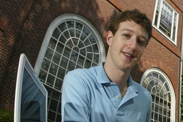 Mark Zuckerberg photographed at Eliot House at Harvard University, Cambridge, MA on May 14, 2004. Facebook was created in February 2004, three months prior to this photograph.