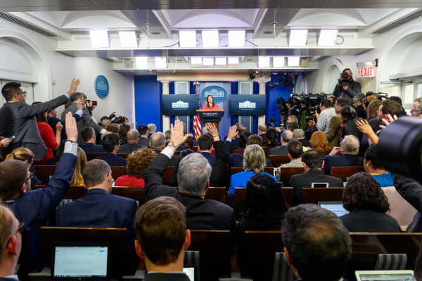 Journalists attending a press conference held by White House Press Secretary Sarah Sanders in the White House.