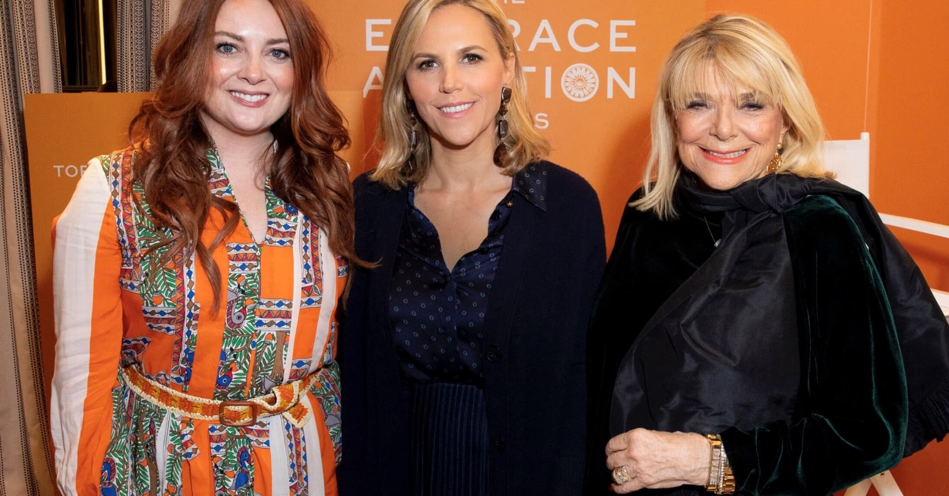 (L-R): Glamour editor-in-chief Samantha Barry; Tory Burch; and her mother, Reva Robinson, at the Embrace Ambition event in Philadelphia on March 4, 2019