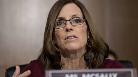 Senator Martha McSally, a Republican from Arizona, questions Jerome Powell, chairman of the U.S. Federal Reserve, during a Senate Banking Committee hearing in Washington, D.C., U.S., on Tuesday. Feb. 26, 2019.