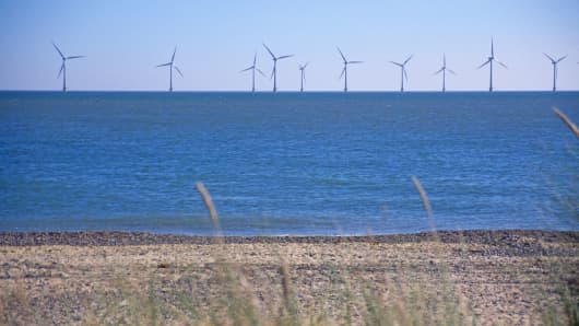 This image shows Scroby Sands offshore wind farm, in waters off the coast of Norfolk, England.