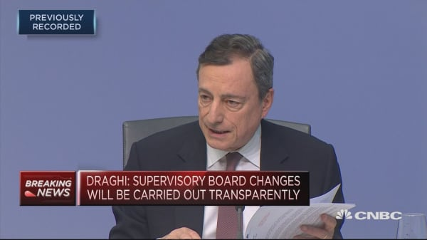 Political decisions determine whether Europe responds to monetary policy, ECB's Draghi says