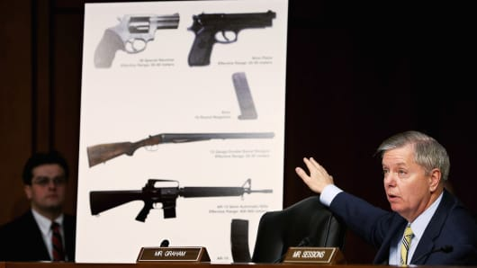 Senate Judiciary Committee member Sen. Lindsey Graham (R-SC) uses imagees of handguns and rifles during a hearing about gun control on Capitol Hill January 30, 2013 in Washington, DC.
