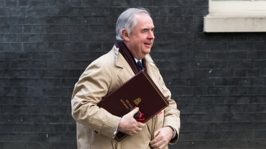 Attorney General Geoffrey Cox leaves 10 Downing Street in central London following a weekly Cabinet meeting on 05 March, 2019.