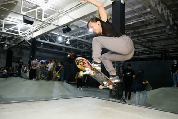 A guest skates at the 'House of Vans' in New York on July 30, 2018