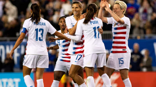 United States forward Tobin Heath (17) and forward Alex Morgan (13) and forward Mallory Pugh (11) celebrate after a goal during the first half against Brazil during a She Believes Cup women's soccer match at Raymond James Stadium, March 5, 2019.