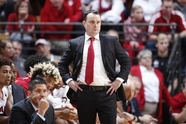 Head coach Archie Miller of the Indiana Hoosiers looks on during the game against the Montana State Bobcats at Assembly Hall on November 9, 2018 in Bloomington, Indiana. The Hoosiers won 80-35.