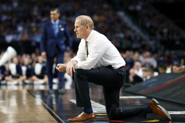 Head coach John Beilein of the Michigan Wolverines reacts against the Villanova Wildcats in the first half during the 2018 NCAA Men's Final Four National Championship game at the Alamodome on April 2, 2018 in San Antonio, Texas.