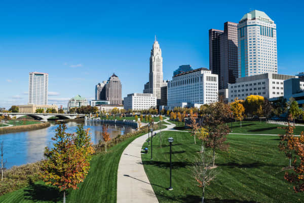 A view of downtown Columbus and the Scioto Mile looking north into the city.