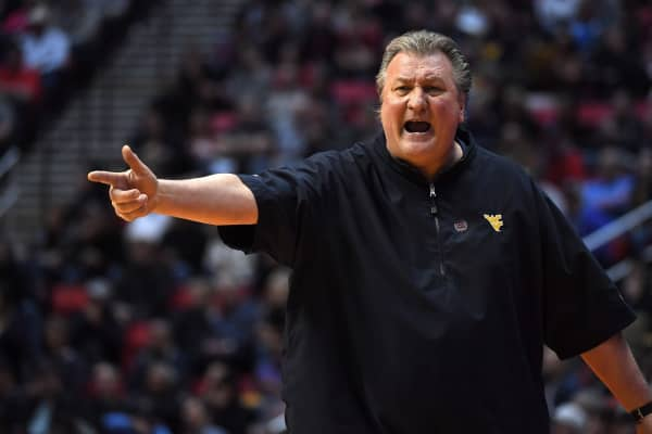 Head coach Bob Huggins of the West Virginia Mountaineers reacts in the second half against the Murray State Racers during the first round of the 2018 NCAA Men's Basketball Tournament at Viejas Arena on March 16, 2018 in San Diego, California.