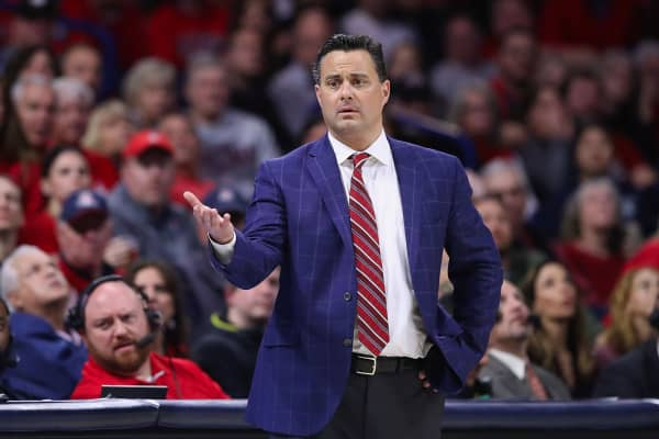 Head coach Sean Miller of the Arizona Wildcats reacts during the NCAAB game against the Washington Huskies at McKale Center on February 07, 2019 in Tucson, Arizona. The Huskies defeated the Wildcats 67-60.