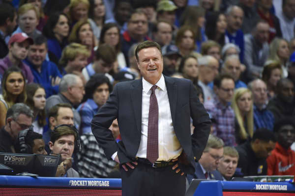 Head coach Bill Self of the Kansas Jayhawks watches his team against the Texas Longhorns at Allen Fieldhouse on January 14, 2019 in Lawrence, Kansas.