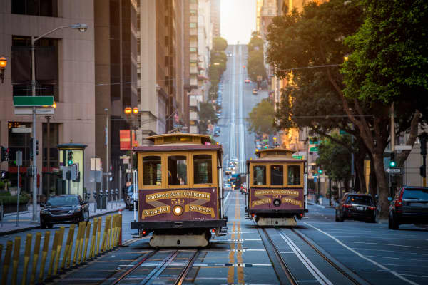 Historic Cable Cars ride on California Street in San Francisco, Calif.