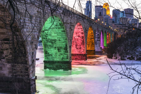 The landmark Stone Arch Bridge in Minneapolis.