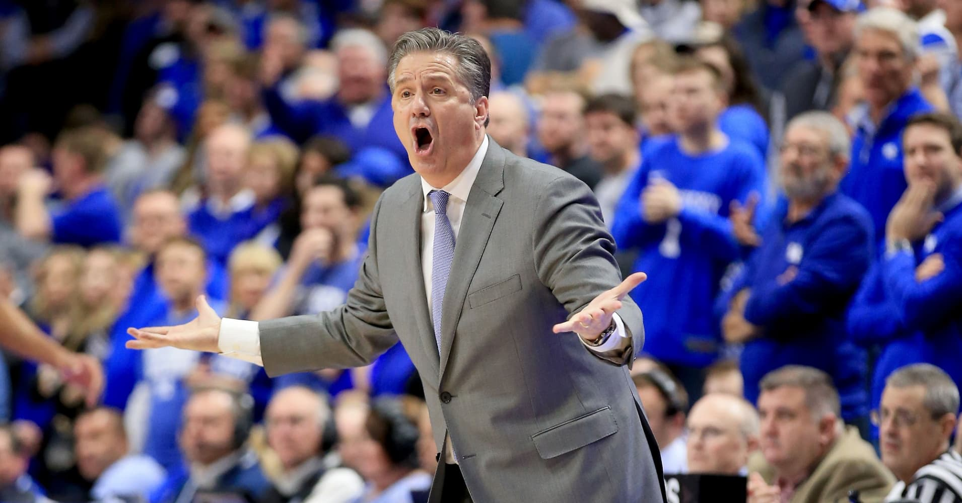 John Calipari the head coach of the Kentucky Wildcats gives instructions to his team against the Arkansas Razorbacks at Rupp Arena on February 26, 2019 in Lexington, Kentucky.