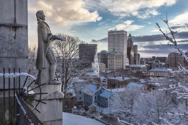 A statue of Roger Williams looks out over Providence, R.I., from Prospect Terrace Park.