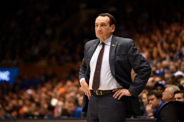 Head coach Mike Krzyzewski of the Duke Blue Devils during their game against the Miami Hurricanes at Cameron Indoor Stadium on March 02, 2019 in Durham, North Carolina. Duke won 87-57.