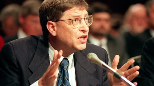Then-Microsoft chairman Bill Gates testifies before the U.S. Senate Judiciary Committee on March 3, 1998, on Capitol Hill in Washington, DC.