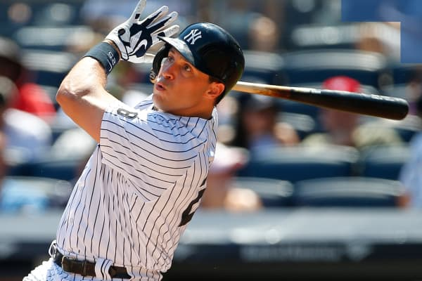 Mark Teixeira of the New York Yankees in action during a game against the Baltimore Orioles at Yankee Stadium.