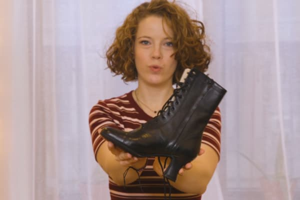 "Fallon Schwurack with her splurge, a $500 pair of LaDuca boots. ""They're fantastic dance shoes,"" she says. ""They were very expensive but so comfortable to dance in, I had to buy them."""
