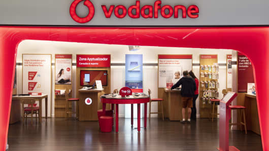 British multinational telecommunications corporation and phone operator, Vodafone, store seen in Spain. (Photo by Miguel Candela/SOPA Images/LightRocket via Getty Images)