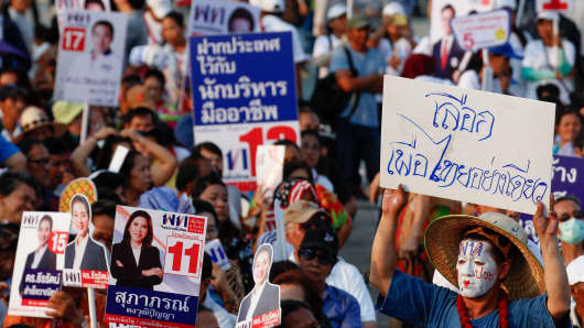Supporters of Thai opposition party, Pheu Thai, at a political rally in Bangkok the general election on March 24.