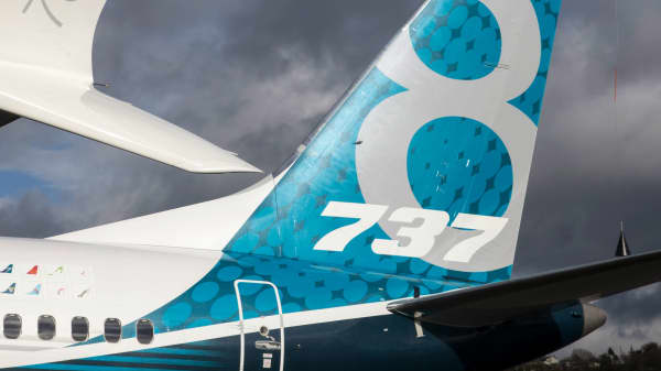 The tail and a next generation winglet of a A Boeing 737 MAX 8 are pictured at Boeing Field after its its first flight on January 29, 2016 in Seattle, Washington.