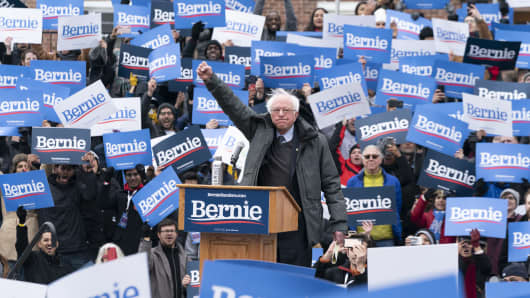 BROOKLYN COLLEGE, NEW YORK, UNITED STATES - 2019/03/02: Democratic Presidential candidate US Senator Bernie Sanders launches first presidential campaign rally with more than 10000 in attendance at Brooklyn College. (Photo by Lev Radin/Pacific Press/LightRocket via Getty Images)